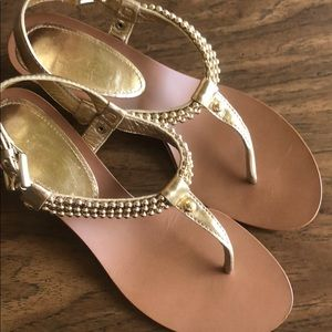 Coach Gold Wedge Sandals